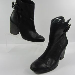 DKNY Black Leather Buckle Ankle Booties